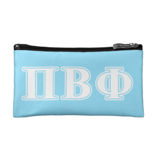 Pi Beta Phi White and Blue Letters Cosmetic Bag