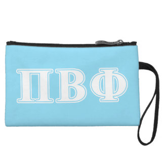 Pi Beta Phi White and Blue Letters Wristlet Clutch