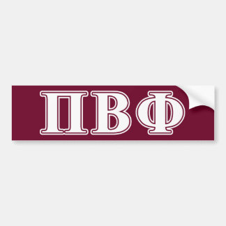 Pi Beta Phi White and Maroon Letters Bumper Sticker