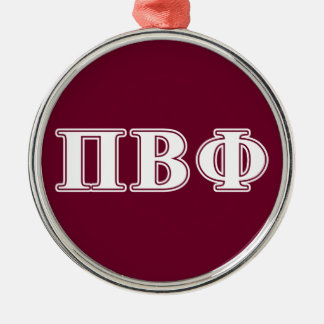 Pi Beta Phi White and Maroon Letters Christmas Ornament