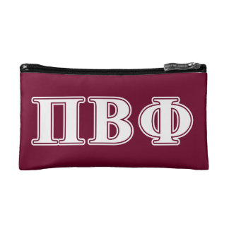 Pi Beta Phi White and Maroon Letters Makeup Bags