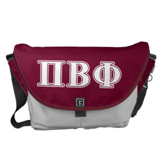 Pi Beta Phi White and Maroon Letters Messenger Bag