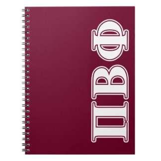 Pi Beta Phi White and Maroon Letters Notebook