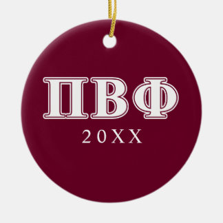 Pi Beta Phi White and Maroon Letters Round Ceramic Decoration