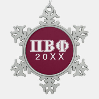 Pi Beta Phi White and Maroon Letters Snowflake Pewter Christmas Ornament