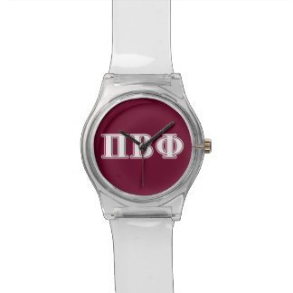 Pi Beta Phi White and Maroon Letters Watch