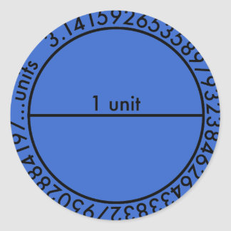 Pi Circle 2 Blue Sticker Round Stickers