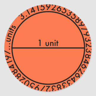 Pi Circle 2 Orange Sticker Round Stickers