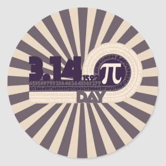 Pi Day Classic Round Sticker
