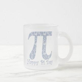 Pi Day Denim Blue Swirls Frosted Glass Mug