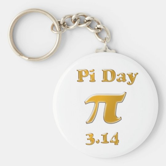 Pi Day Gold on White Key Ring