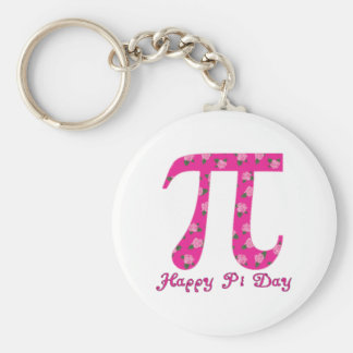 Pi Day Pink Flowers on Fuscia Basic Round Button Key Ring