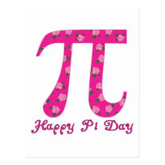 Pi Day Pink Flowers on Fuscia Postcard