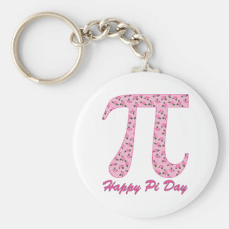 Pi Day Pink Roses on Pink Polka Dots Keychains