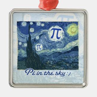 Pi Day Silver-Colored Square Decoration