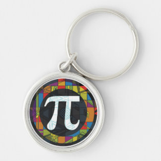 Pi Day Symbol Rounds Silver-Colored Round Key Ring