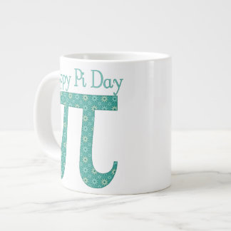 Pi Day Teal Floral Abstract 20 Oz Large Ceramic Coffee Mug