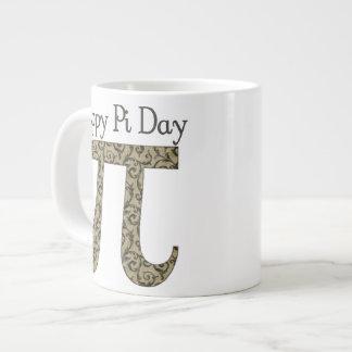 Pi Day Vintage Brown Swirls Large Coffee Mug