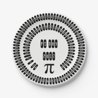 pi Digits Math pi= 3.14159 pi Day 2017 black white Paper Plate