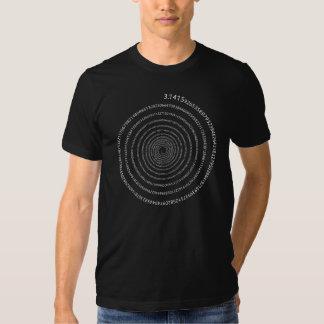 Pi Digits Spiral (white text) Tshirts