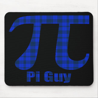Pi Guy Blue and Black Plaid Pi Day Gifts and Tees Mouse Pad