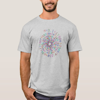 Pi in a spiral - Color - Grey Shirt
