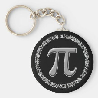 Pi in Silver Basic Round Button Key Ring