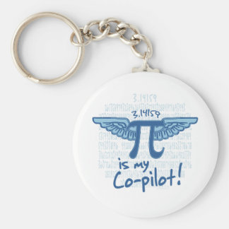 Pi is my Co-Pilot Basic Round Button Key Ring