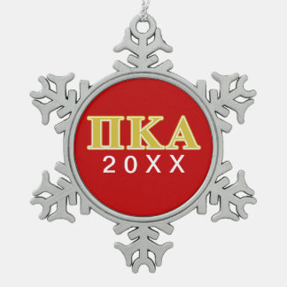 Pi Kappa Alpha Gold Letters Snowflake Pewter Christmas Ornament