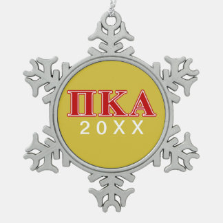 Pi Kappa Alpha Red Letters Snowflake Pewter Christmas Ornament