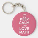 Pi keep calm and love math basic round button key ring
