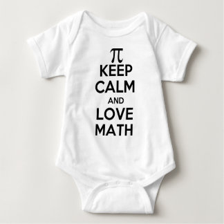 Pi keep calm and love math slogan baby bodysuit