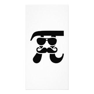 Pi Mustache sunglasses Photo Card Template