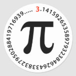 Pi Number Design Round Sticker