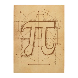 Pi Number Sketch Wood Wall Art
