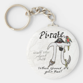 Pi rate Pirate Pi Day Shirts and Gifts Basic Round Button Key Ring