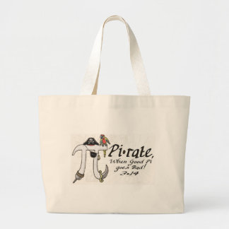 Pi rate Pirate Pi Day Shirts and Gifts Large Tote Bag