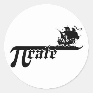 Pi rate ship round sticker
