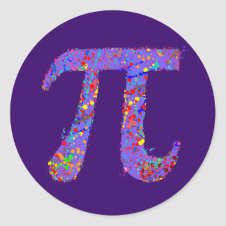 Pi Symbol Action Painting Splatter Classic Round Sticker