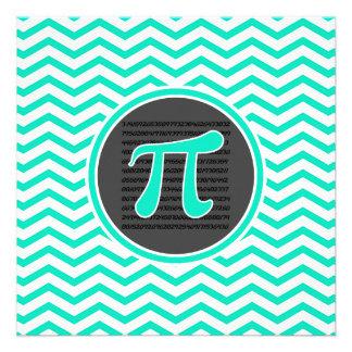 Pi symbol Aqua Green Chevron Personalized Invitation