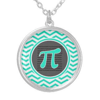 Pi symbol; Aqua Green Chevron Silver Plated Necklace