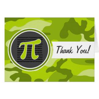 Pi symbol; bright green camo, camouflage card