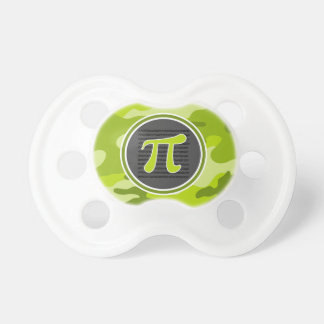 Pi symbol bright green camo camouflage pacifiers