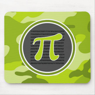 Pi symbol; bright green camo, camouflage mouse pads