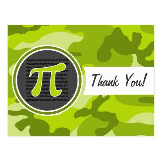 Pi symbol; bright green camo, camouflage postcards
