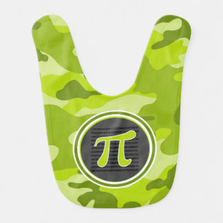 Pi symbol bright green camo camouflage baby bibs