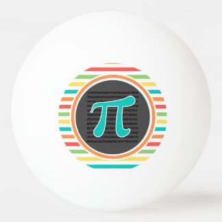 Pi Symbol, Bright Rainbow Stripes Ping Pong Ball