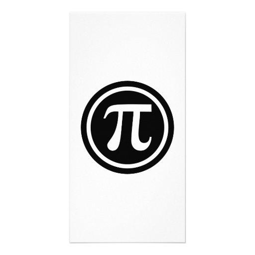 Pi symbol icon customized photo card