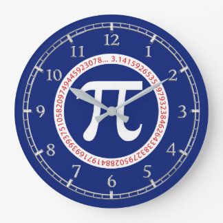 Pi Symbol in Circle on Navy Blue Dial on a Large Clock