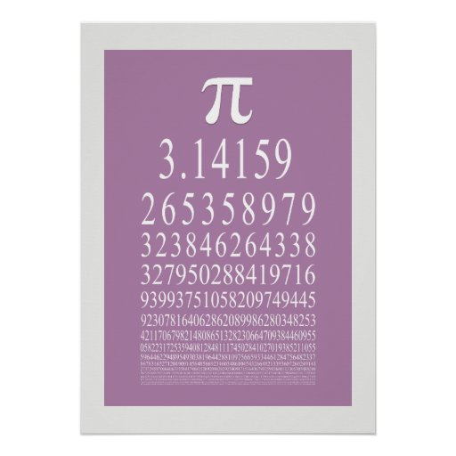 Pi Symbol Many Digit Number Posters